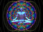 Human Sitting In Lotus Position Surrounded by Bio-Electromagnetic Field