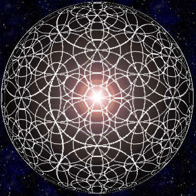 Flower of Life Matrix Overlaid With Grid Structure